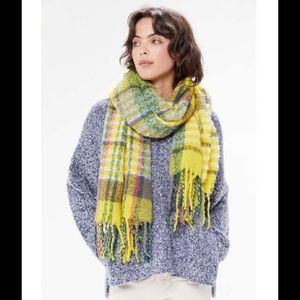 Urban Outfitters Fuzzy Plaid Scarf Yellow